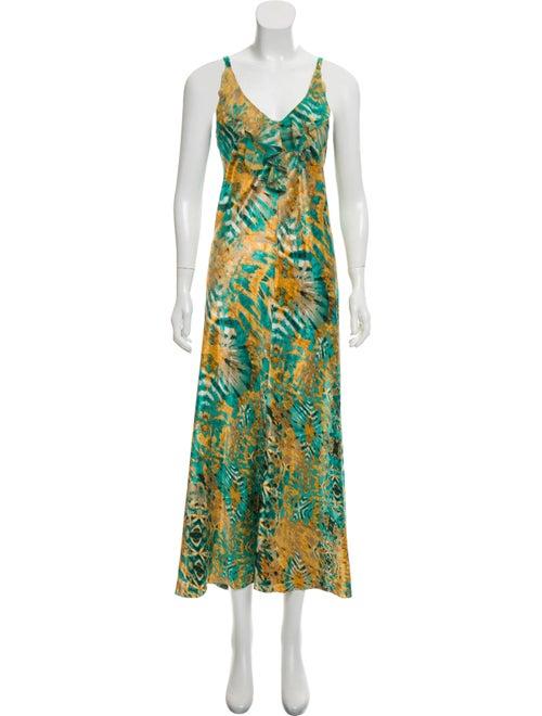 Oscar de la Renta Printed Maxi Dress Green
