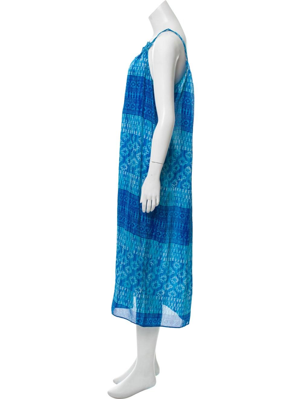 Oscar de la Renta Sleeveless Maxi Dress Blue - image 2