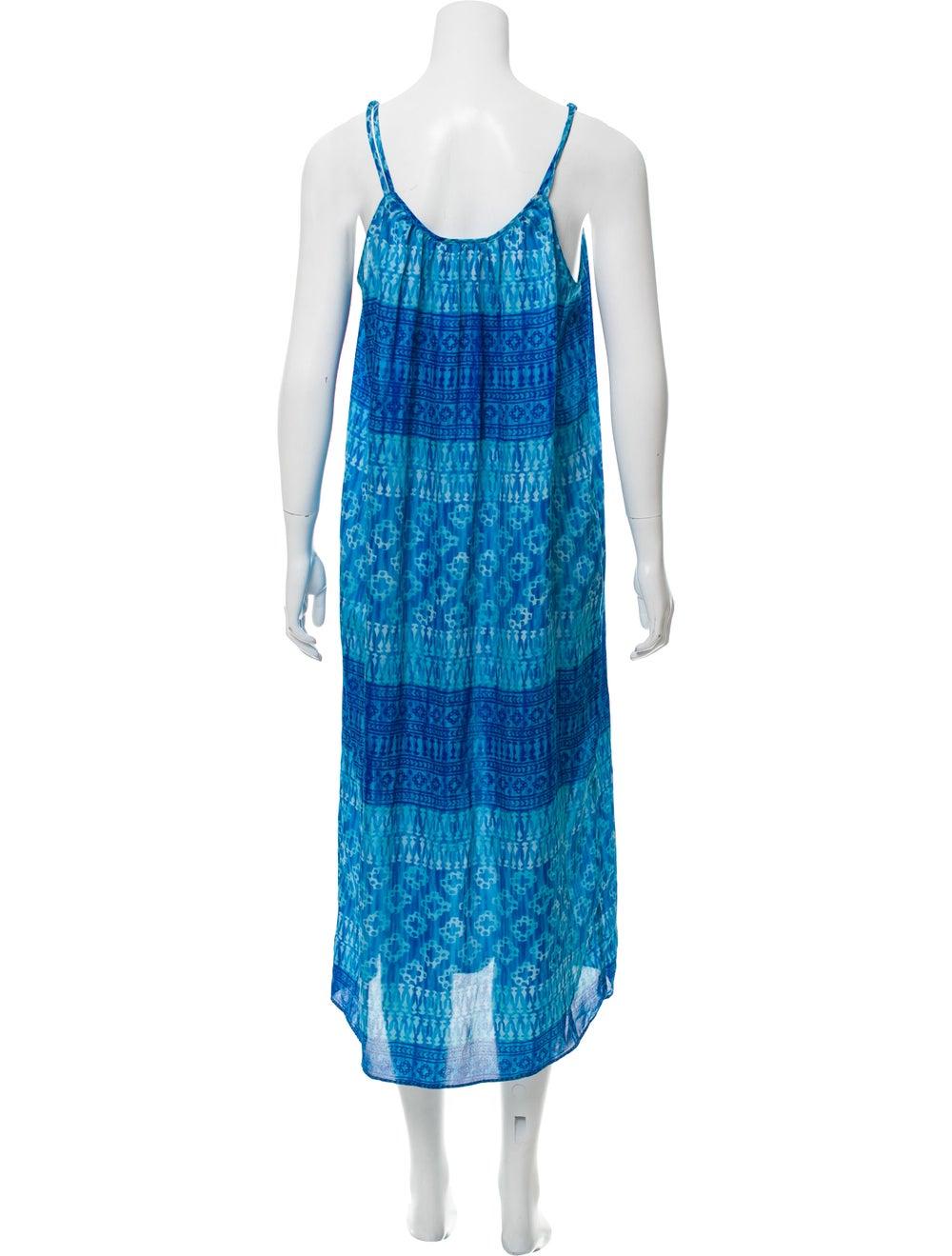 Oscar de la Renta Sleeveless Maxi Dress Blue - image 3