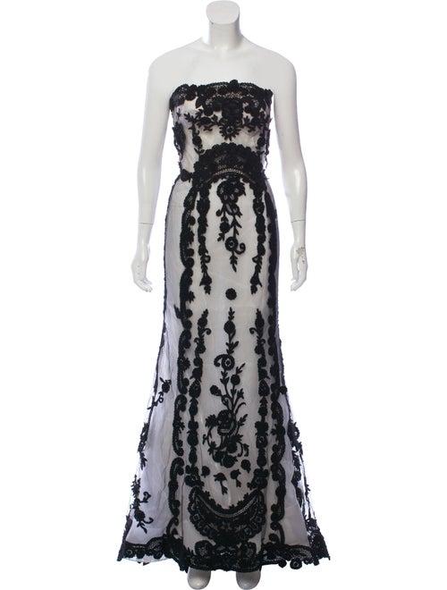 Oscar de la Renta Strapless Maxi Dress Black