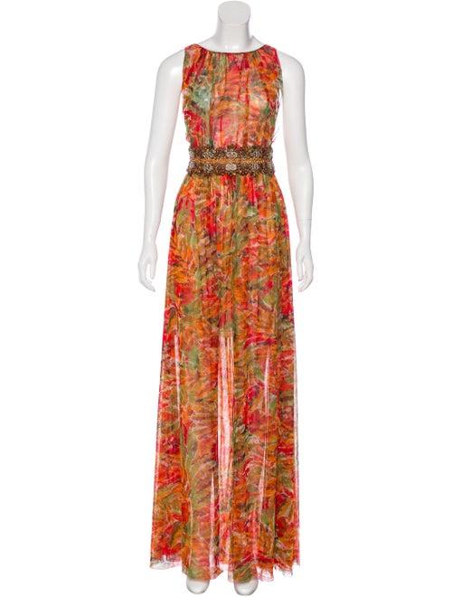 Oscar de la Renta Embellished Maxi Dress Red