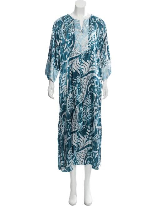 Oscar de la Renta Printed Maxi Dress Blue