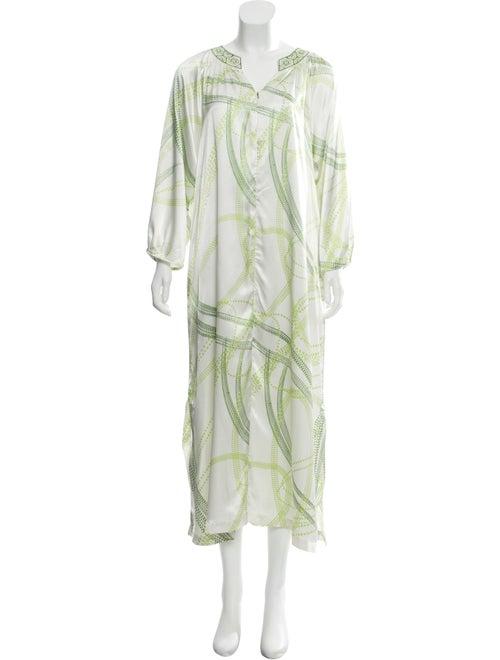 Oscar de la Renta Printed Maxi Dress White