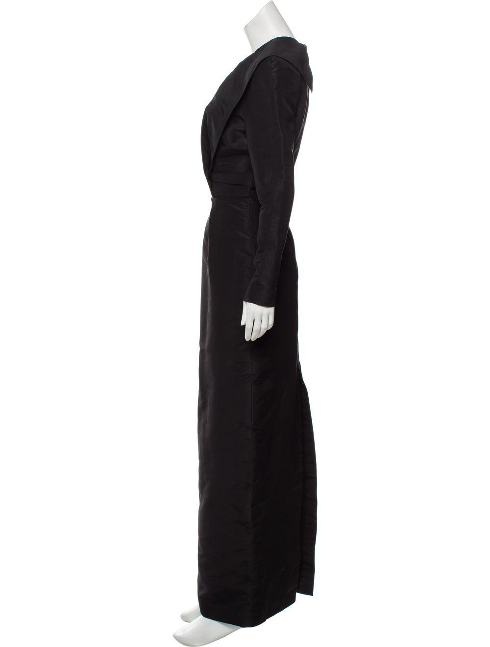 Oscar de la Renta Silk Maxi Dress Black - image 2