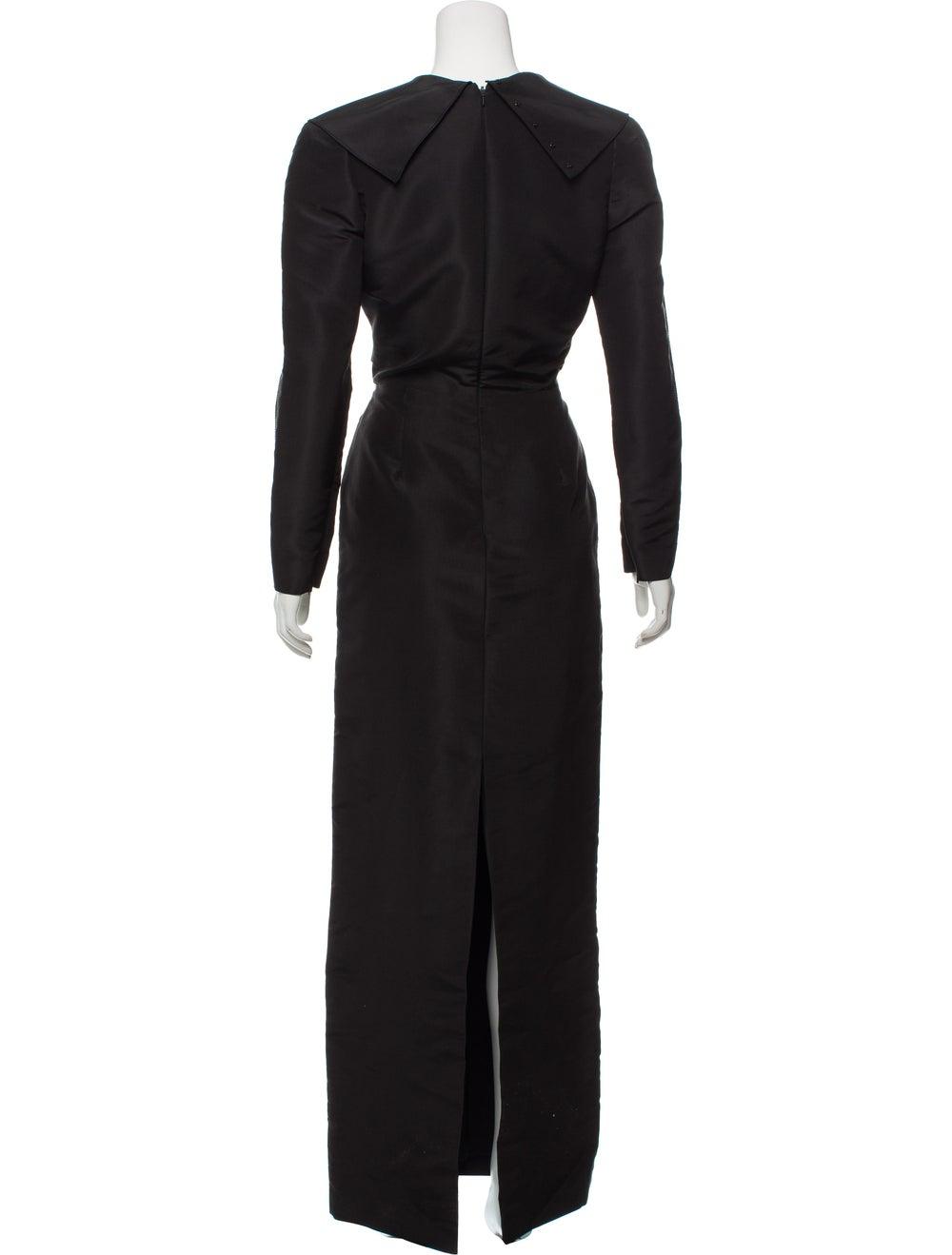 Oscar de la Renta Silk Maxi Dress Black - image 3