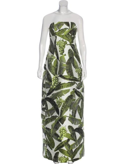 Oscar de la Renta Strapless Maxi Dress multicolor