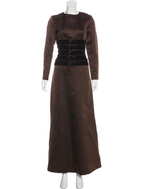 Oscar de la Renta Long Sleeve Evening Dress Brown
