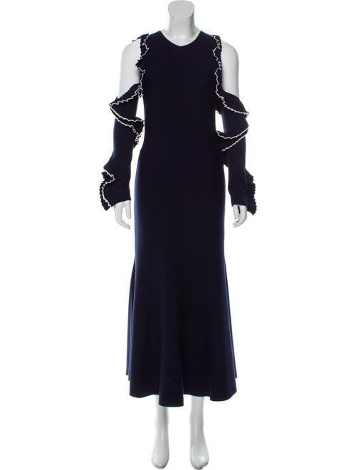 Oscar de la Renta 2018 Wool Maxi Dress Navy