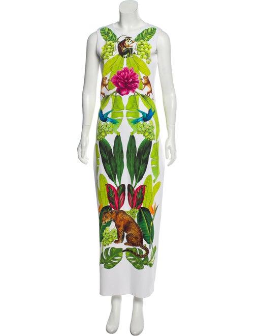 Oscar de la Renta Jungle Print Maxi Dress