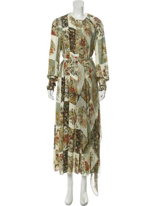 Oscar de la Renta Silk Maxi Dress Green