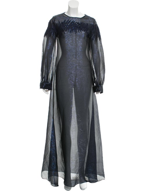 Oscar de la Renta Metallic Maxi Dress Navy