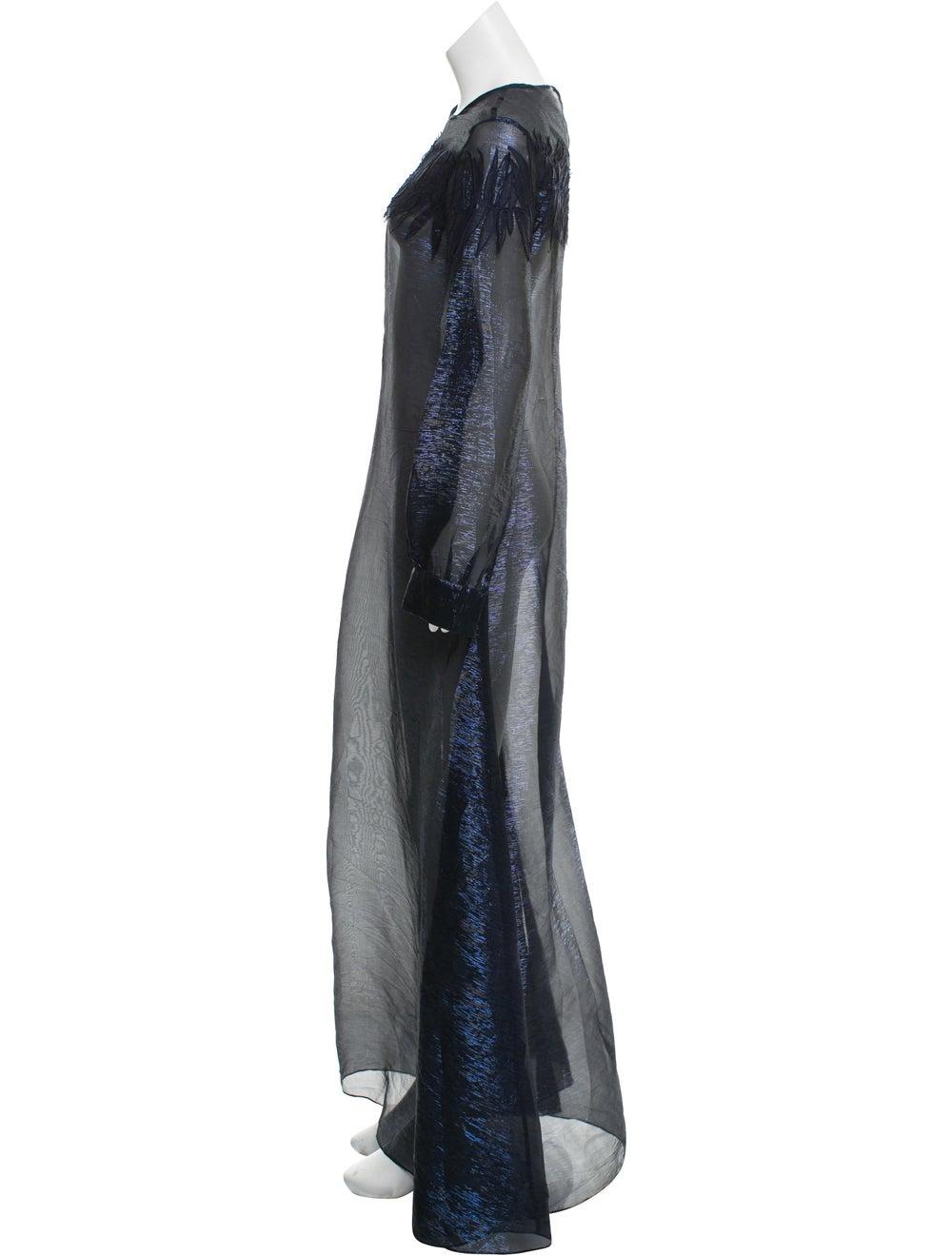 Oscar de la Renta Metallic Maxi Dress Navy - image 2