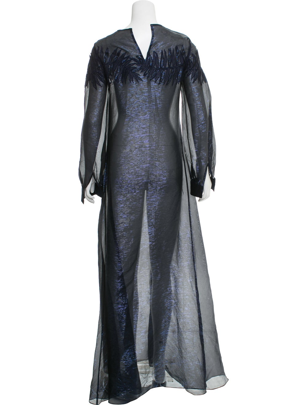 Oscar de la Renta Metallic Maxi Dress Navy - image 3