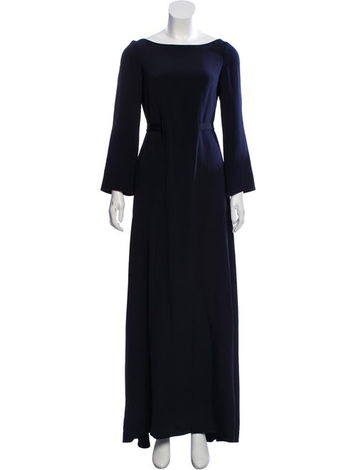 Oscar de la Renta Long Sleeve Maxi Dress Blue - image 1