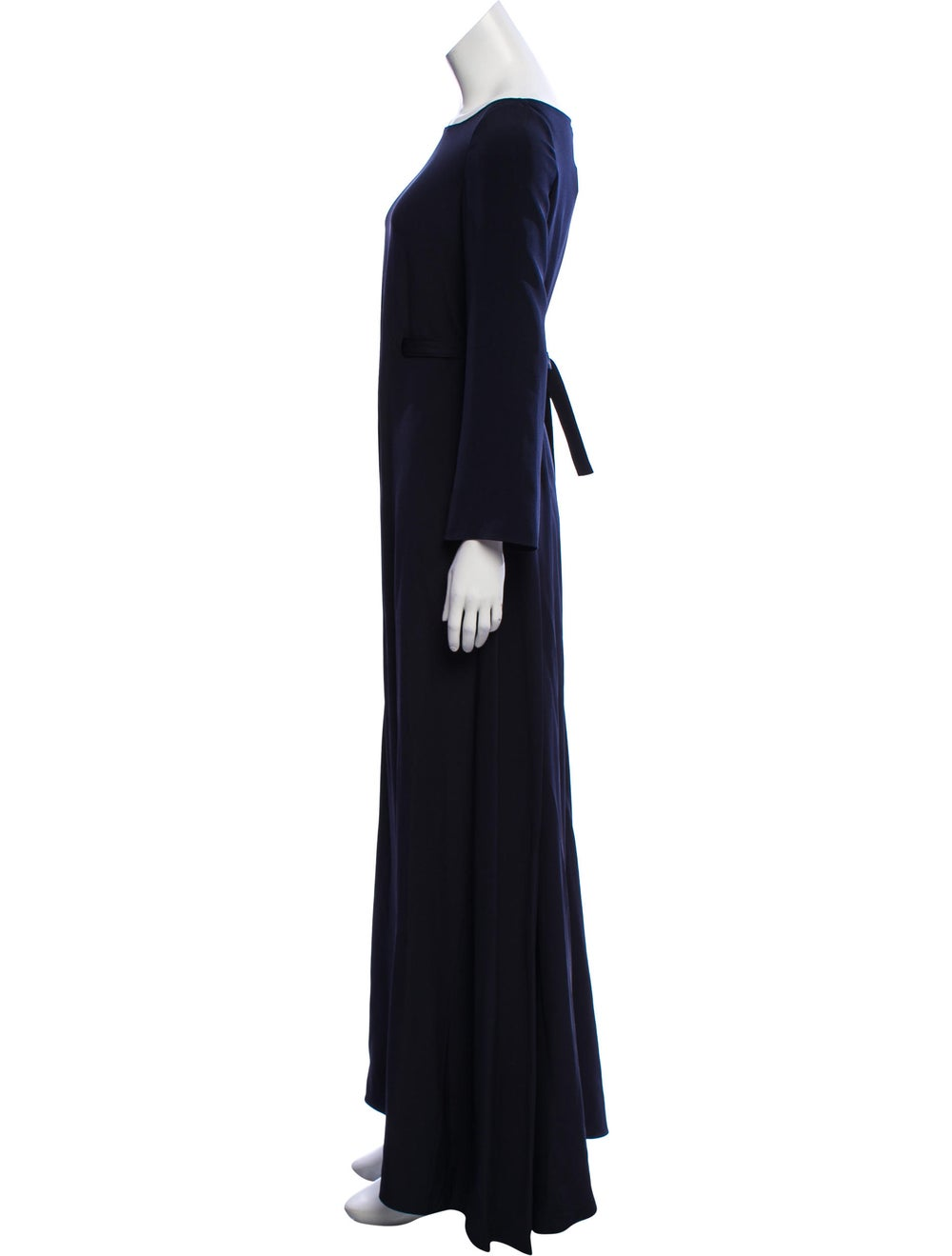 Oscar de la Renta Long Sleeve Maxi Dress Blue - image 2