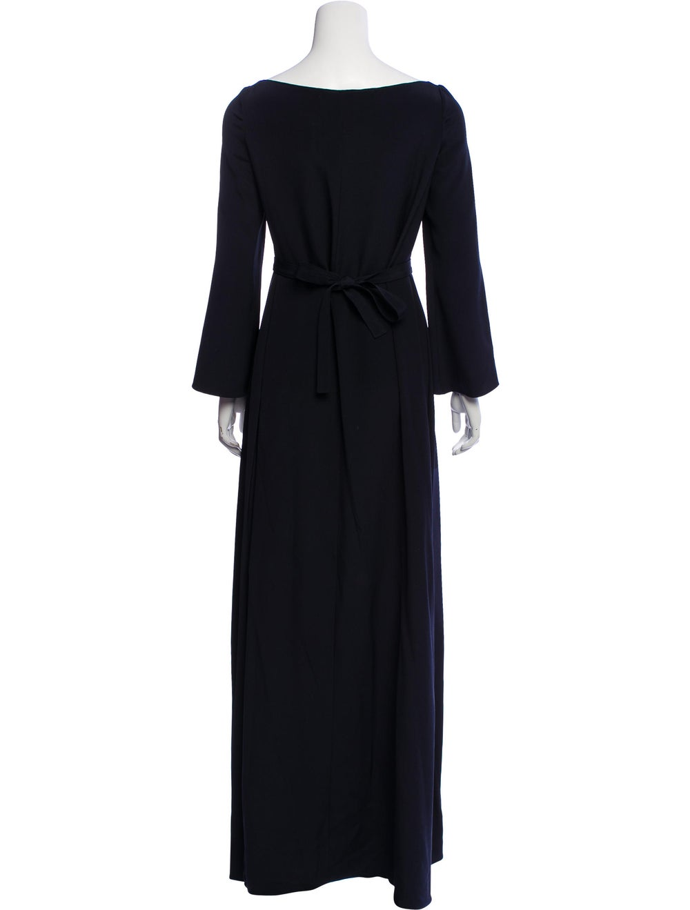 Oscar de la Renta Long Sleeve Maxi Dress Blue - image 3