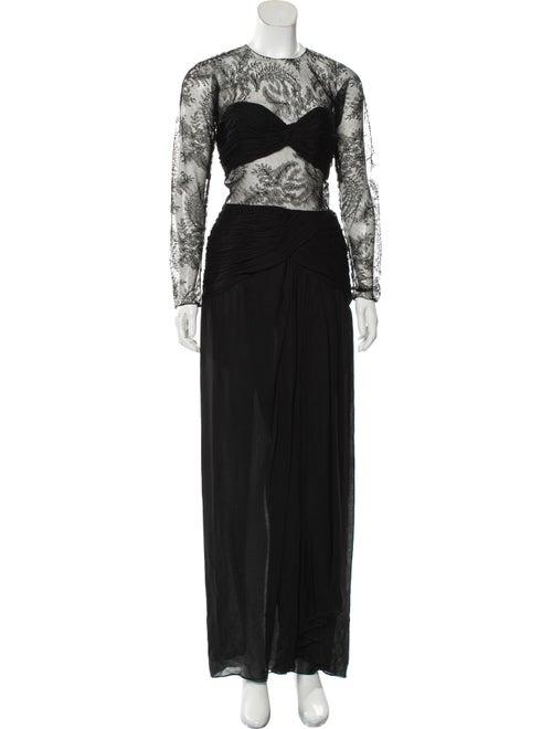 Oscar de la Renta Lace Maxi Dress Black