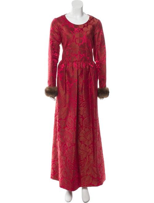 Oscar de la Renta Fur-Trimmed Jacquard Gown