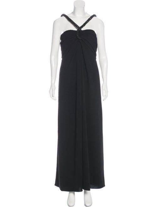 Oscar de la Renta Sleeveless Maxi Dress Black - image 1