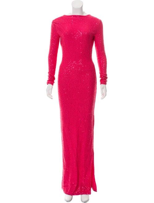 Oscar de la Renta Embellished Maxi Dress Pink