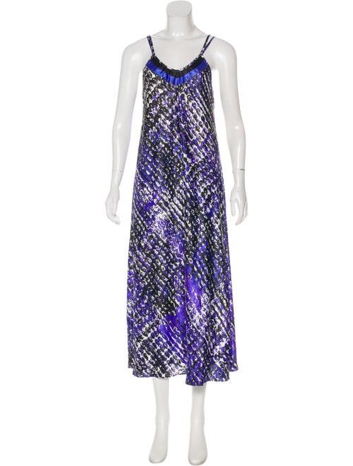 Oscar de la Renta Sleeveless Maxi Dress Purple - image 1