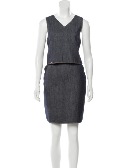Oscar de la Renta Knee-Length Denim Skirt Set blue