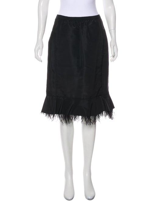 Oscar de la Renta Silk Feather-Trimmed Skirt Black