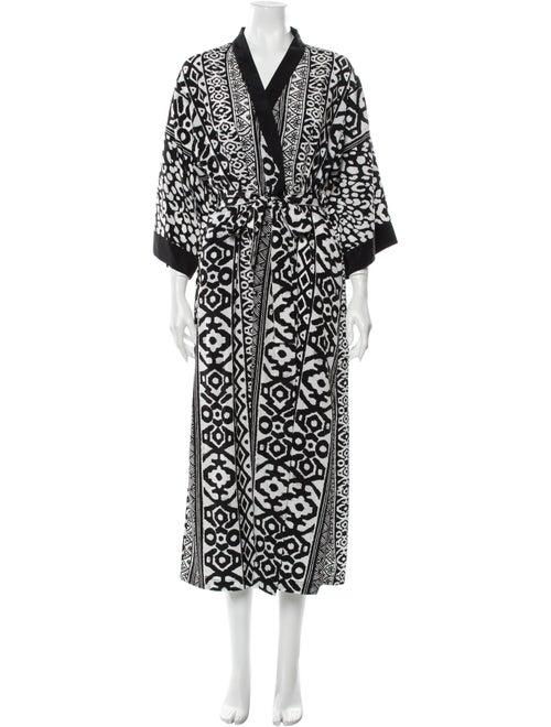 Oscar de la Renta Printed Robe Black