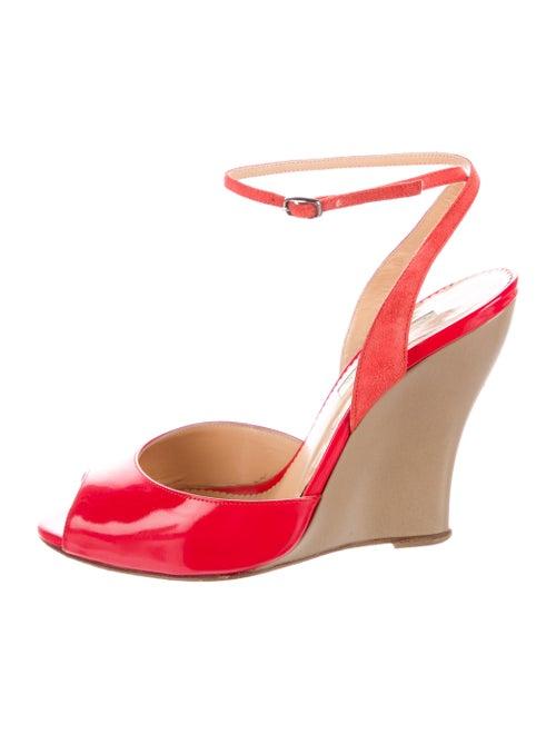 Oscar de la Renta Leather Wedge Sandals Red