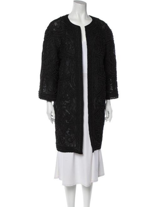 Oscar de la Renta Silk Coat Black