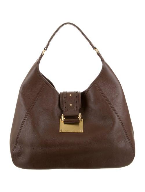 Oscar de la Renta Large Leather Hobo Brown