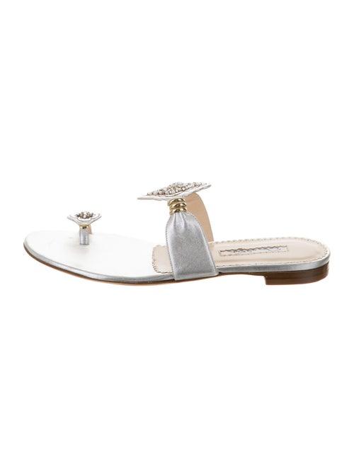 Oscar de la Renta Embellished Slide Sandals Silver