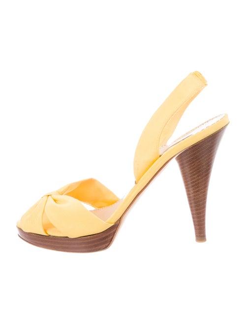 Oscar de la Renta Canvas Slingback Sandals Yellow