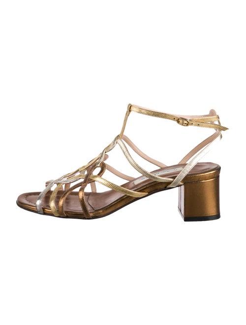 Oscar de la Renta Metallic Leather Sandals Gold