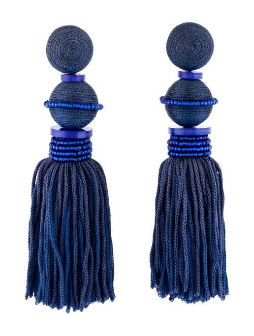 Oscar de la Renta Tassel Drop Clip-On Earrings Gol