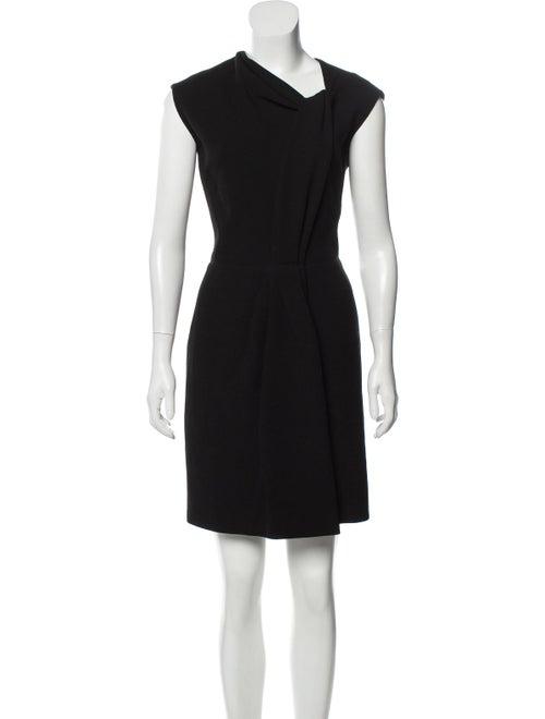 Oscar de la Renta Wool Asymmetrical Dress Black