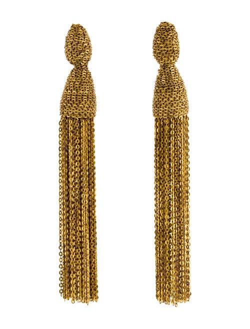 Oscar de la Renta Chain Tassel Clip-On Earrings go