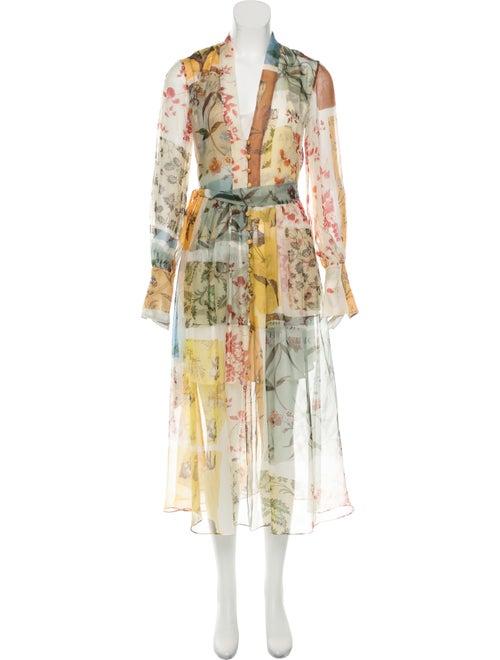 Oscar de la Renta Sheer Printed Maxi Dress Multico