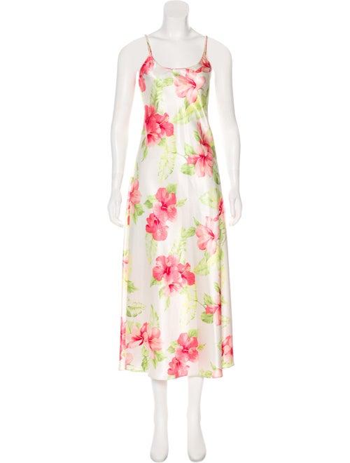 Oscar de la Renta Hibiscus Maxi Dress White - image 1