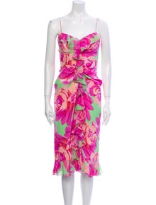 Oscar de la Renta Floral Print Midi Length Dress