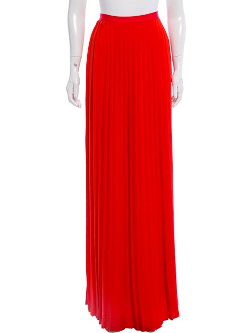 Oscar de la Renta Pleated Maxi Skirt Red - image 1