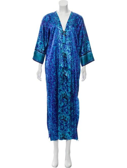Oscar de la Renta V-Neck Maxi Dress Blue - image 1