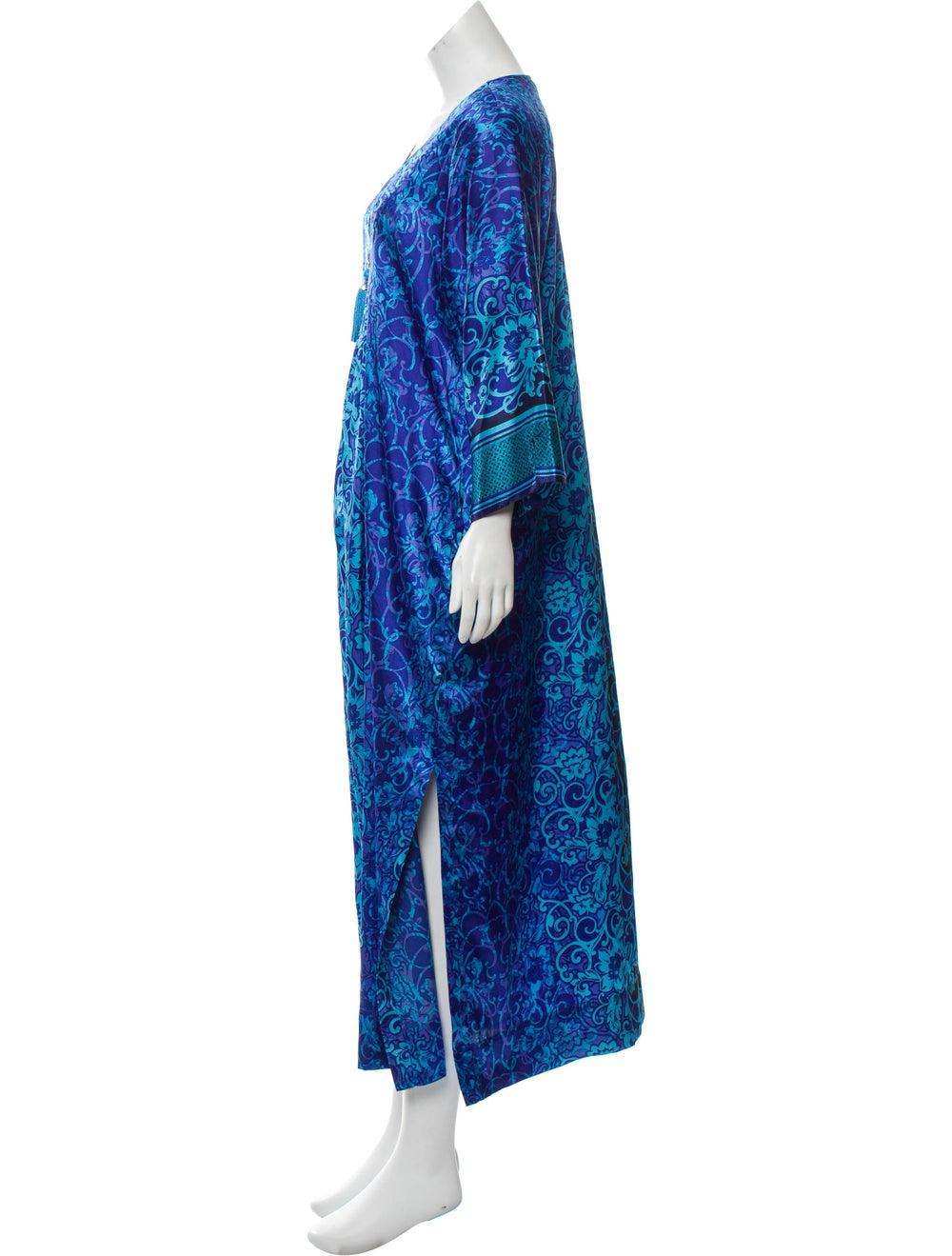 Oscar de la Renta V-Neck Maxi Dress Blue - image 2