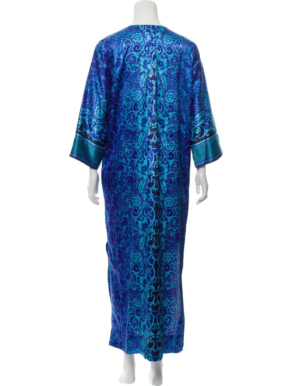 Oscar de la Renta V-Neck Maxi Dress Blue - image 3