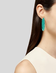 Oscar de la Renta Beaded Lattice Disc Hoop Earrings
