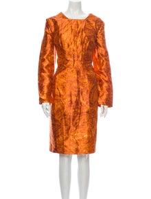 Oscar de la Renta Silk Midi Length Dress