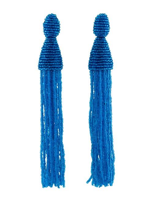 Oscar de la Renta Long Tassel Clip-On Drop Earring
