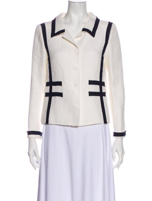 Oscar de la Renta Linen Jacket White