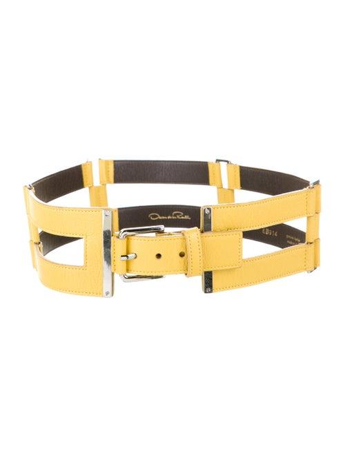 Oscar de la Renta Leather Waist Belt Yellow