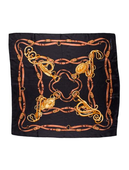Oscar de la Renta Silk Printed Scarf Black